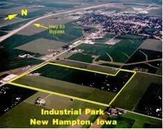 Arial photo of the New Hampton, IA Industrial Park near Highway 63 Bypass
