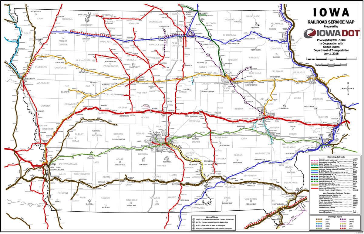 Map of Iowa Railroad lines