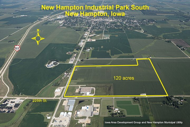 Arial photo of the New Hampton, IA Industrial Park